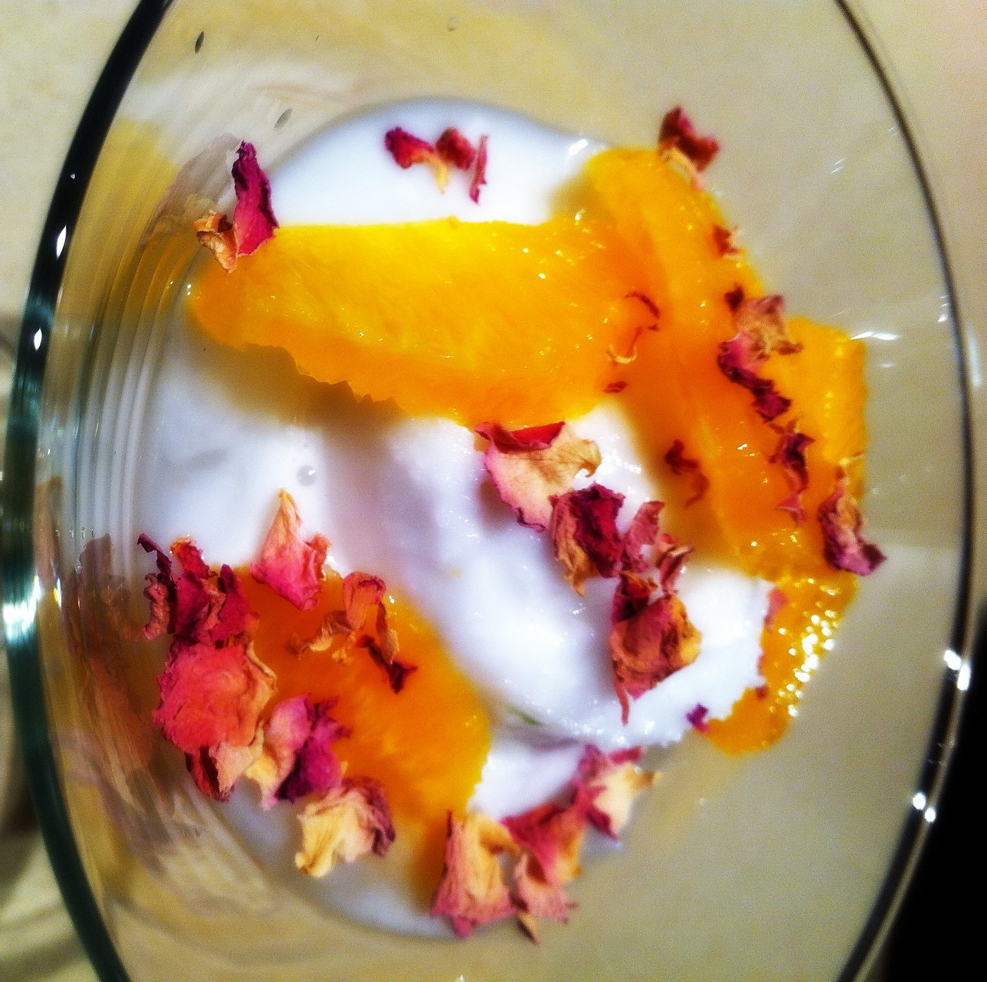 , Coconut sorbet with oranges in lime syrup