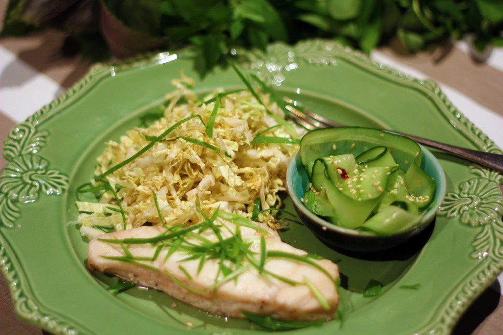 , Easy fish in a bag with crispy asian coleslaw