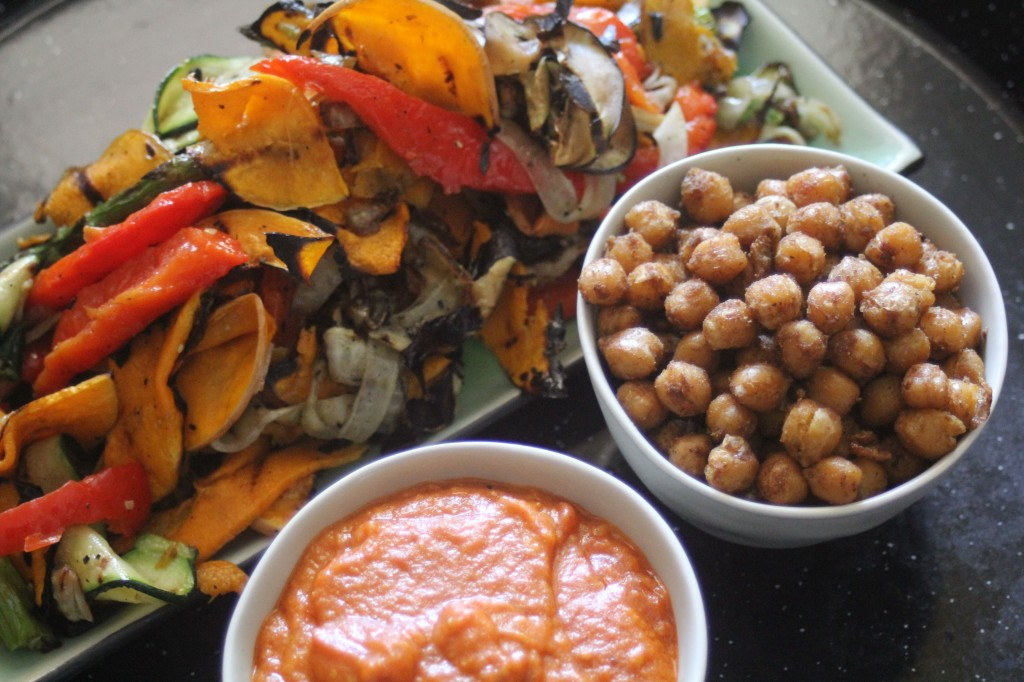 , Spanish romesco sauce with chargrilled vegetables and spiced chickpeas