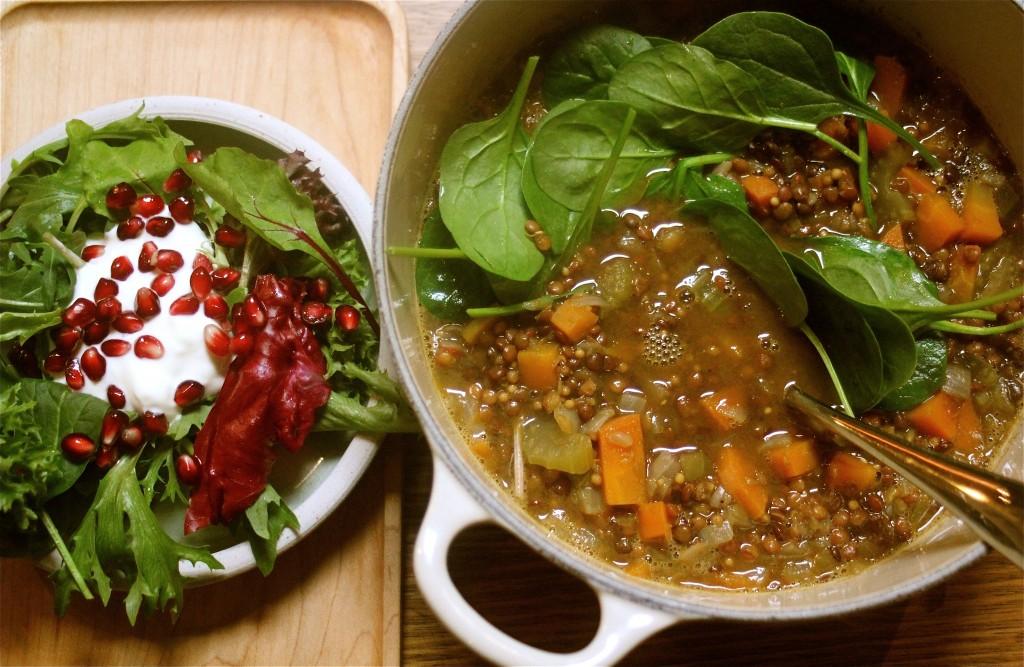 Green lentil soup with lemon and ras el hanout