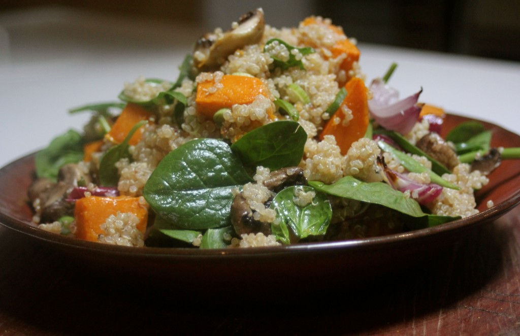 , Healthy salad with quinoa, roasted pumpkin and forest mushrooms