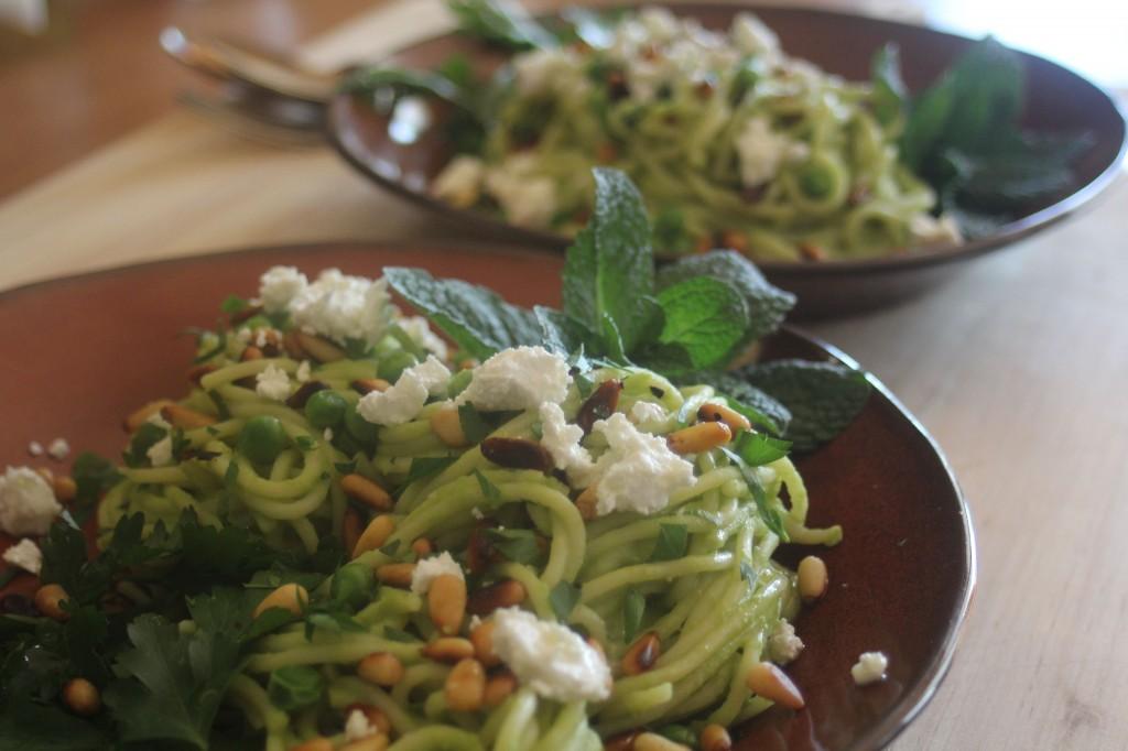 Green pea pasta with fetta & fresh herbs