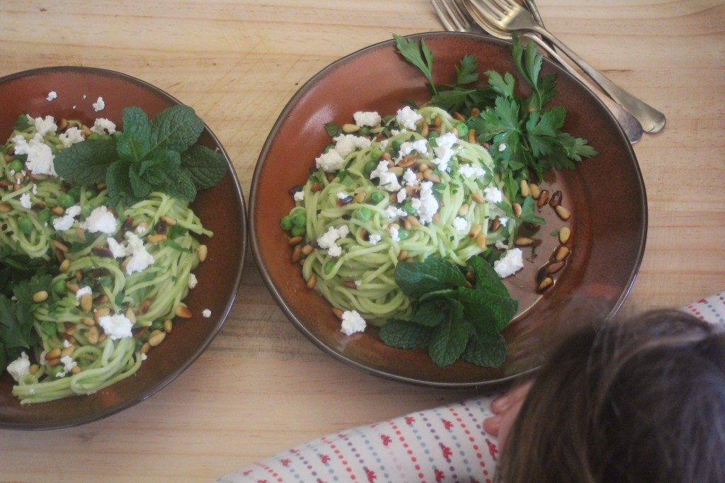 , Pasta with green peas, fetta and fresh herbs