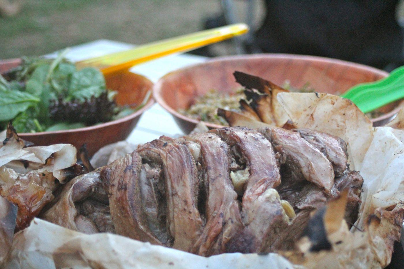 Campfire roast lamb