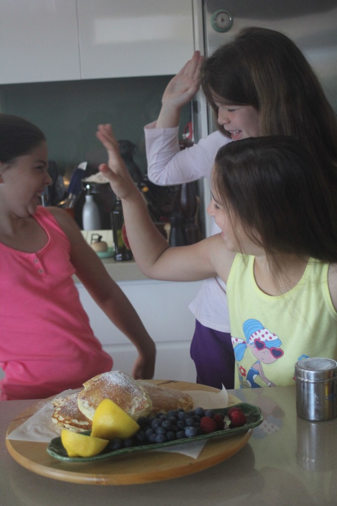 High five's all round - Pancakes are ready to devour and Ava is finally awake !!!