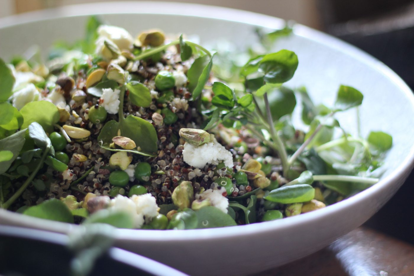 , Quinoa salad with peas, watercress and homemade basil oil