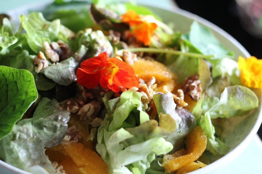 Green leaf and orange salad with nasturtium leaves and flowers