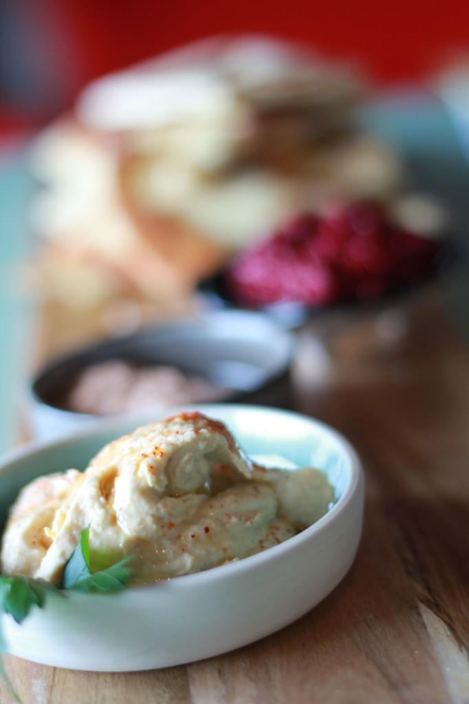 Hummus, Harissa, Beetroot dip with homemade pittas