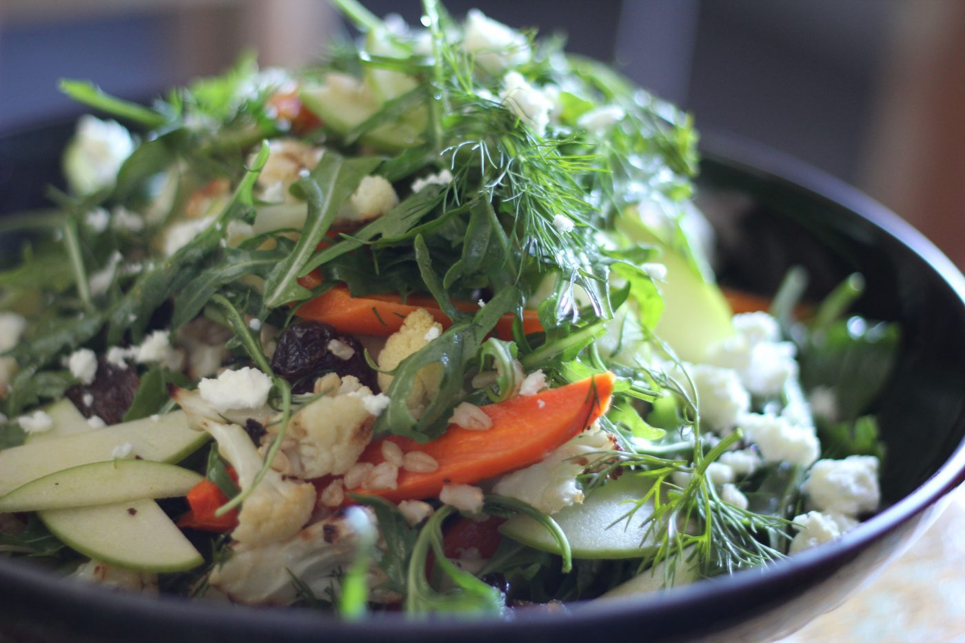, Lunch salad of pearl barley with roasted cauliflower and carrots