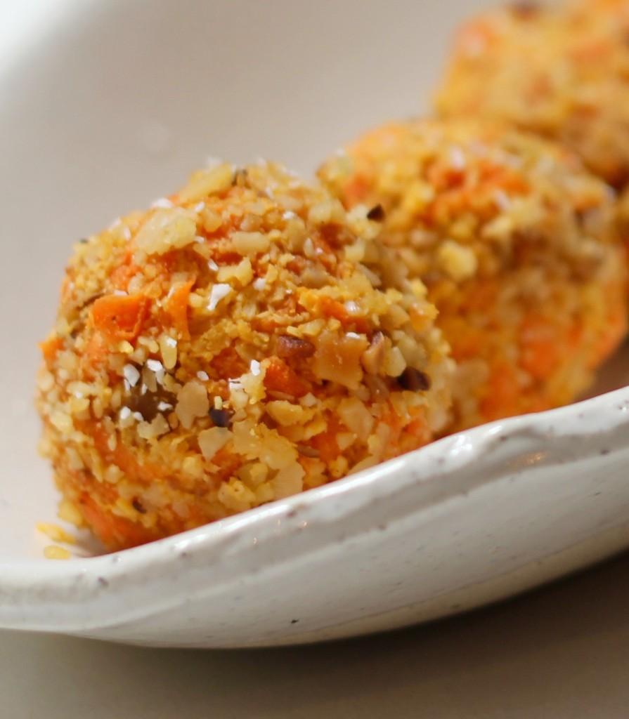 Individual raw carrot cake balls