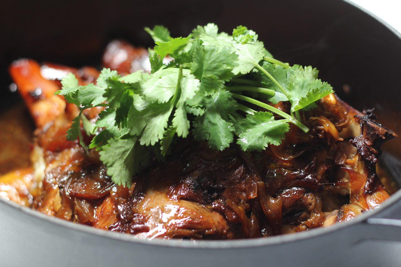 , Slow roasted sticky Asian style lamb shoulder