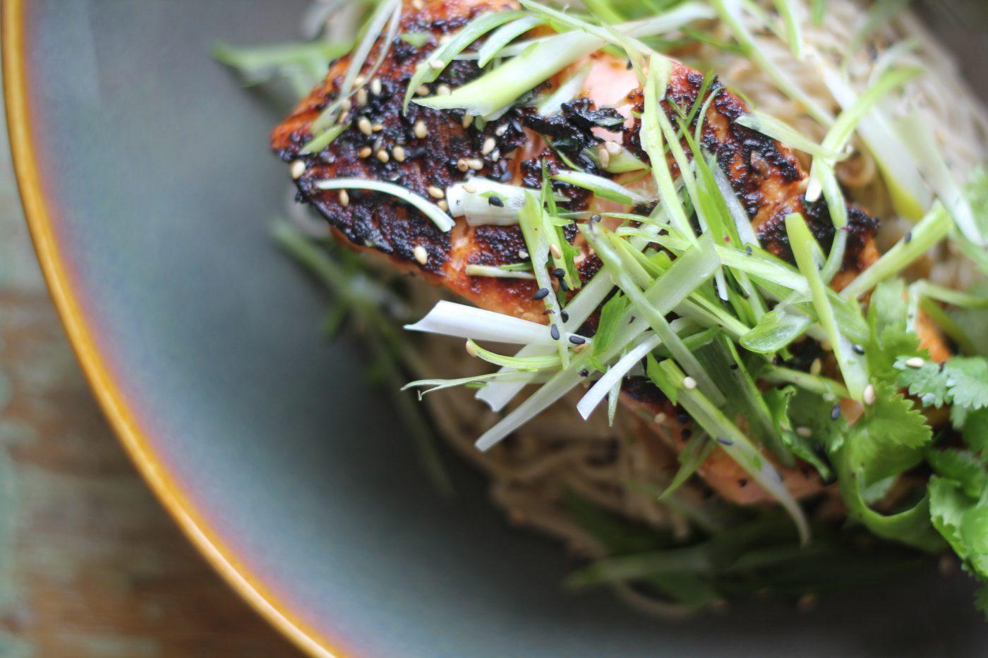 , Warming miso glazed salmon with soba noodles