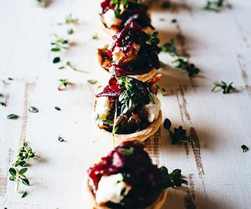 , Mini caramelised onion tarts with goats cheese and beetroot relish