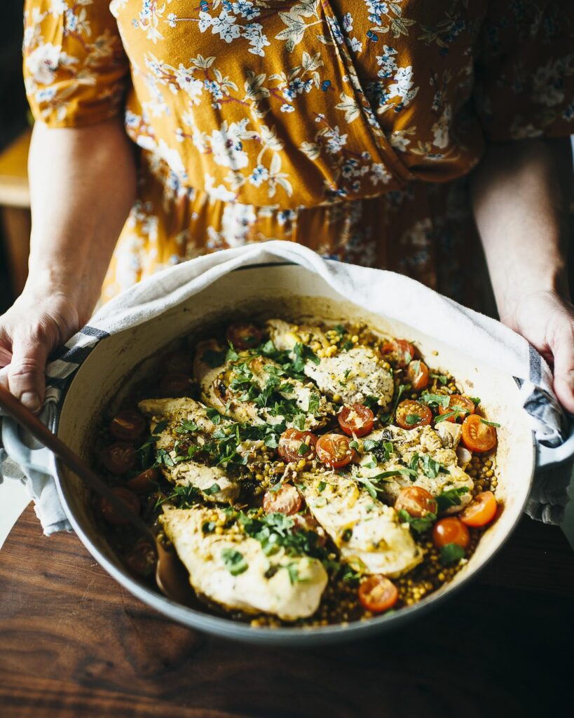 one-pan chicken with pearl couscous recipe, One-pan chicken with pearl couscous
