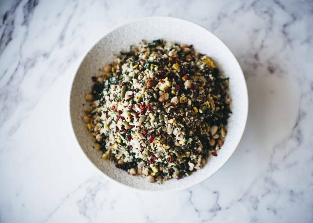, Quinoa, freekeh, kale & corn salad with rose harissa