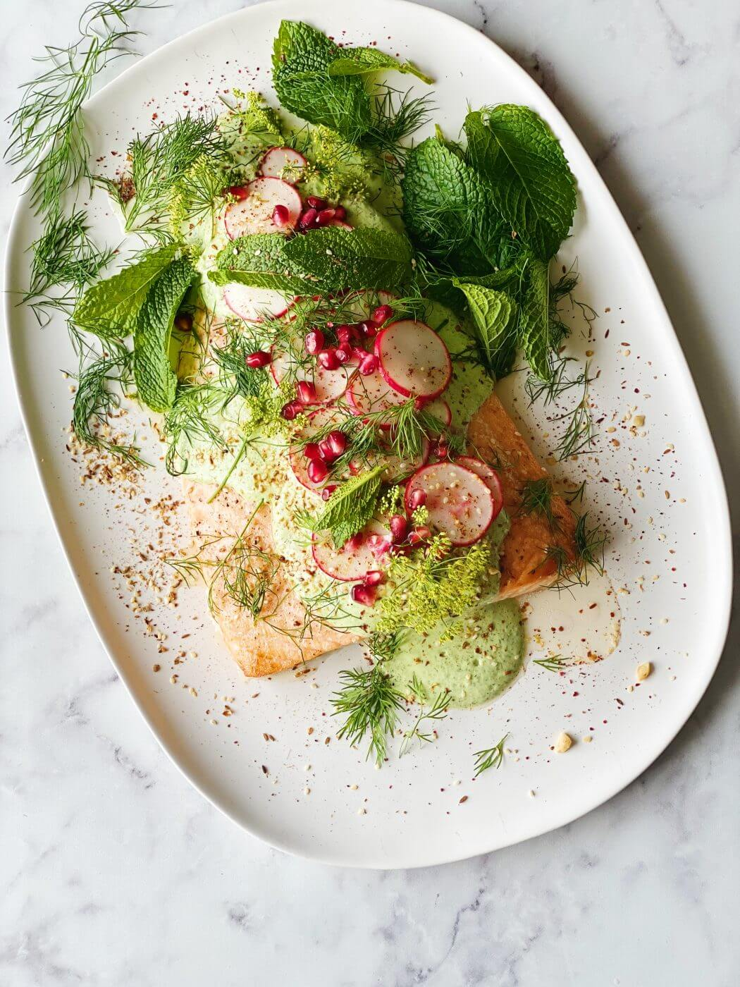 , A Christmas salmon with green tahini dressing for all……Merry Christmas to you