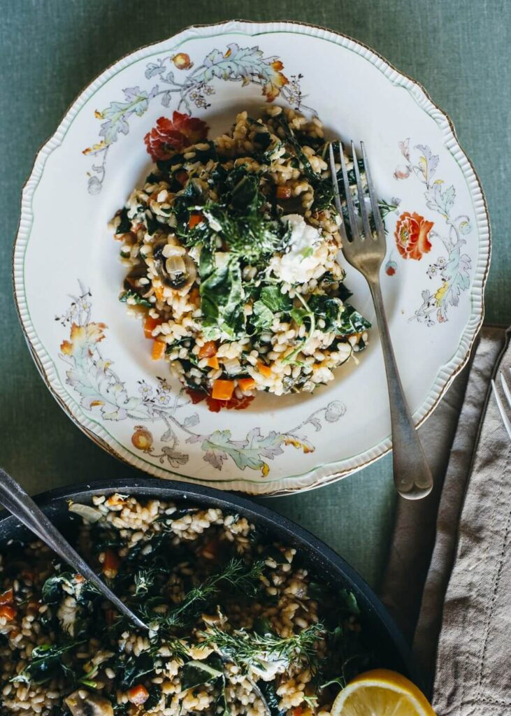 , Mushroom, lemon & silverbeet risotto