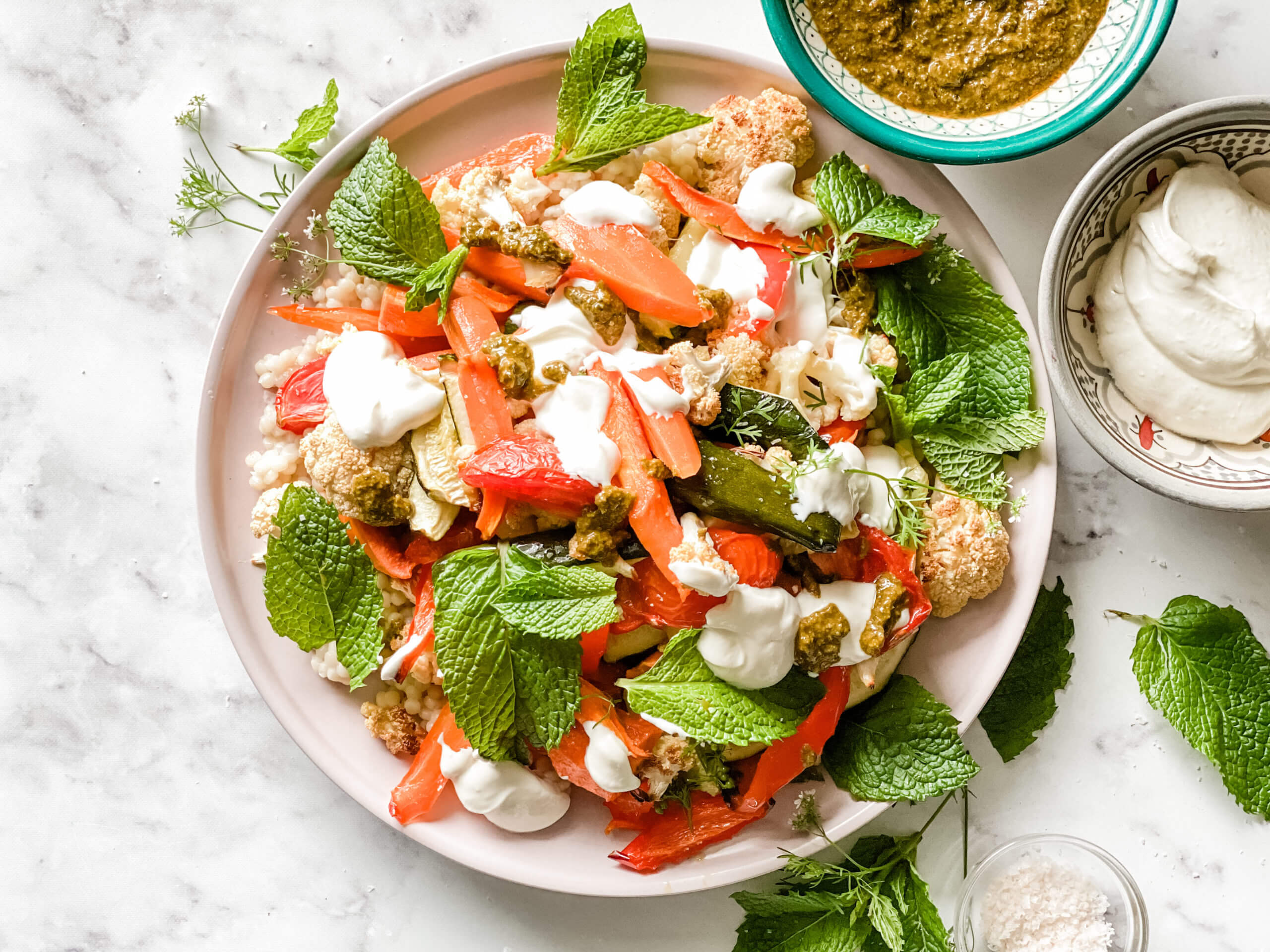 , Slow roasted vegetables with minty chermoula and pearl couscous