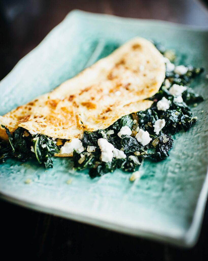 Green omelette for breakfast or brunch